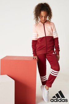 adidas Red/Pink 3 Stripe Tracksuit