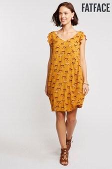 FatFace Yellow Tori Geo Monkeys Dress