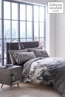 Conjunto de funda de edredón y funda de almohada con diseño de paisaje urbano de Catherine Lansfield