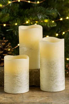 Set of 3 Pine, Cedar & Eucalyptus Real Wax LED Candles