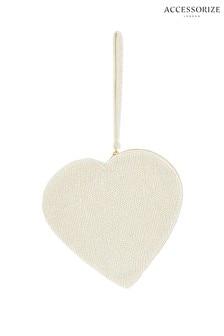 Accessorize White Pearl Heart Wristlet