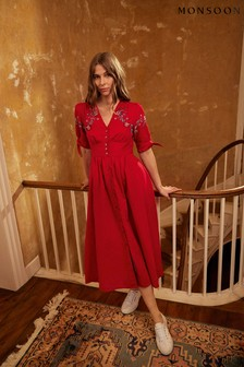 Monsoon Red Dolly Floral Embroidered Midi Dress