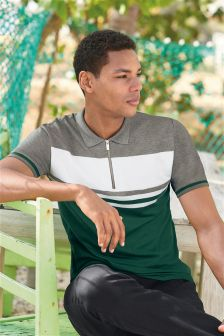 Colourblock Zip Neck Polo