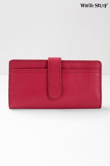 White Stuff Red Rose Leather Flapover Purse