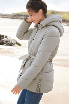 Short Belted Padded Jacket