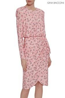 Gina Bacconi Pink Ricci Floral Print Jersey Dress