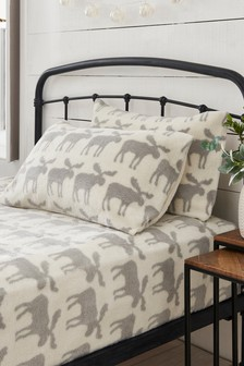 Super Soft Fleece Moose Pillowcase And Fitted Sheet