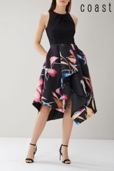Coast Black Katie Twill Full Midi Dress