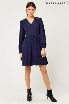 Warehouse Navy Cutwork Dress