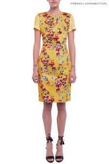 French Connection Yellow Multi Linosa Cotton Dress