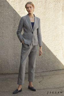 Jigsaw Black Weave Linen Relaxed Trouser