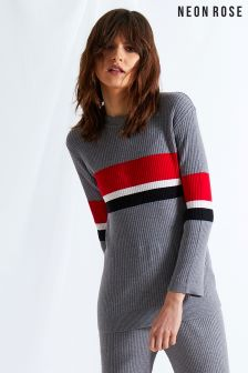 Neon Rose Grey Block Stripe Jumper