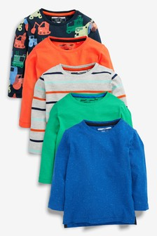 Truck Long Sleeve T-Shirt Five Pack (3mths-6yrs)