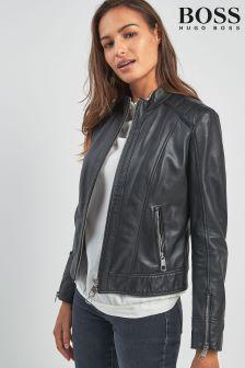 BOSS Black Leather Biker Jacket