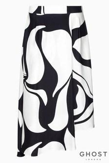 Ghost London Black Olivia Abstract Mono Print Satin Skirt