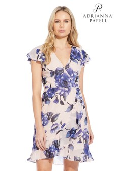 Adrianna Papell White Geranium Printed Faux Dress
