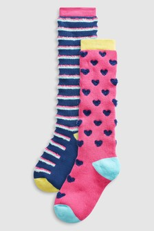 Fluffy Welly Socks Two Pack (Older)