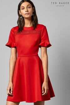 Ted Baker Red Lace Skater Dress