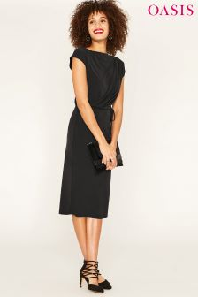 Oasis Black Drape Column Dress