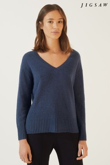 Jigsaw Cloud 7 Cashmere V-Neck Jumper
