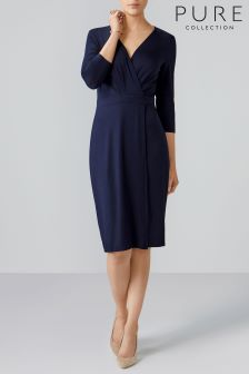 Pure Collection Blue Jersey Wrap Dress