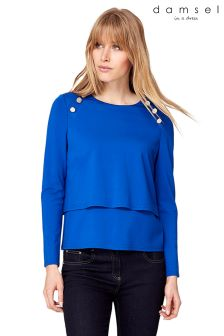 Damsel Blue Marla Military Top