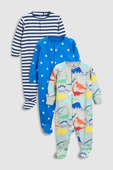Dino Star Sleepsuits Three Pack (0mths-2yrs)