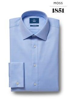 Moss 1851天藍色訂製剪裁雙袖口斜紋襯衫
