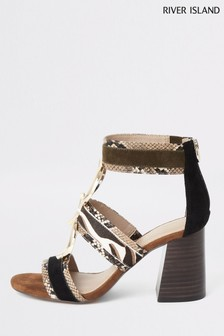 River Island Brown Print Ring Caged Block Sandals