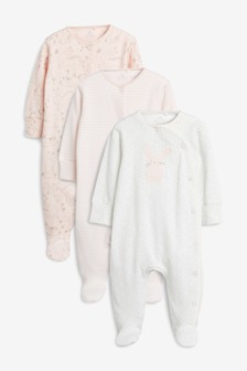 Bunny Appliqué Sleepsuits Three Pack (0mths-2yrs)