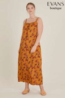 Evans Curve Yellow Floral Print Maxi Dress