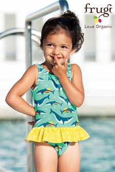 Frugi UPF 50+ Blue Rainbow Whale Swimming Costume