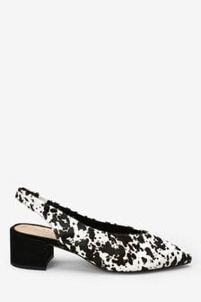 Leather Block Slingbacks