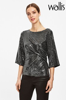 Wallis Silver Ruched Side Top