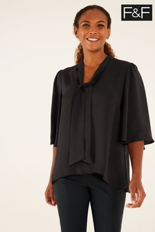 F&F Black Angel Sleeve Tie Neck Blouse
