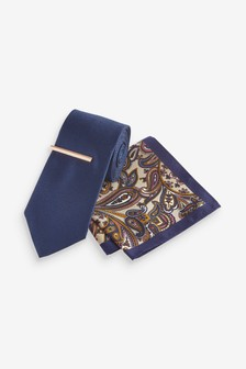Tie With Paisley Pocket Square And Tie Clip Set