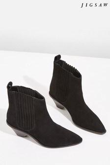 Jigsaw Black Camila Suede Western Boot