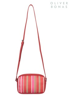 Oliver Bonas Red Olivia Stripe Camera Bag