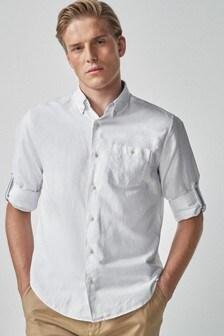 Linen Rich Roll Sleeve Shirt