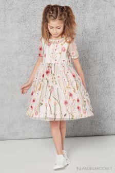 Розовое платье с вышивкой Angel & Rocket