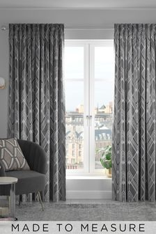 Silver Luxe Deco Geo Made To Measure Curtains