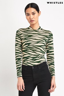 Whistles Green Tiger Stripe Polo Neck Top