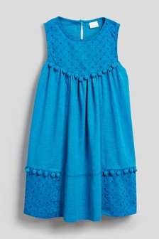 Embroidered Pom Pom Dress (3-16yrs)