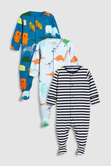 Watercolour Character Print Sleepsuits Three Pack (0mths-2yrs)