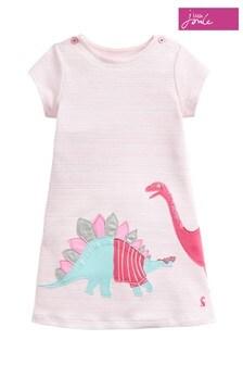 Joules Pink Kaye Short Sleeve Jersey Appliqué Dress
