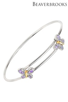 Beaverbrooks Children's Silver Crystal Butterfly Bangle