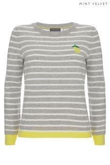 Mint Velvet Grey Lemon Stripe Motif Knit Jumper