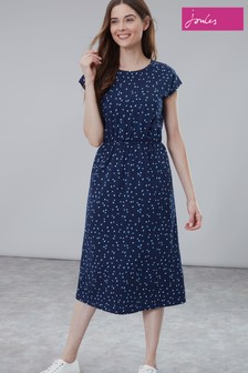 Joules Blue Alma Print Half Wrap Dress
