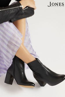Jones Bootmaker Black Neptune Leather Ladies Heeled Ankle Boots