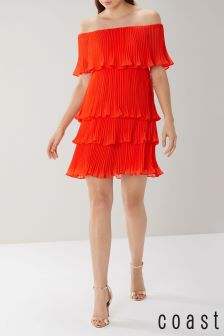 Coast Red Tessa Tiered Pleated Dress